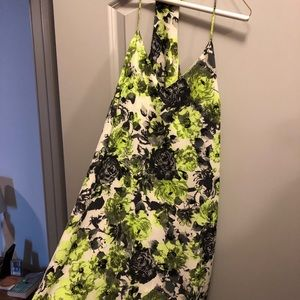 Neon green and black floral dress